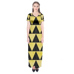 Triangle2 Black Marble & Yellow Watercolor Short Sleeve Maxi Dress
