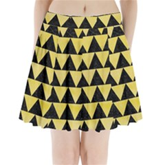 Triangle2 Black Marble & Yellow Watercolor Pleated Mini Skirt