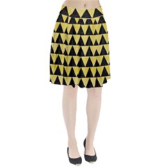 Triangle2 Black Marble & Yellow Watercolor Pleated Skirt