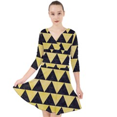 Triangle2 Black Marble & Yellow Watercolor Quarter Sleeve Front Wrap Dress