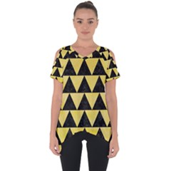 Triangle2 Black Marble & Yellow Watercolor Cut Out Side Drop Tee