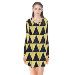 Triangle2 Black Marble & Yellow Watercolor Flare Dress