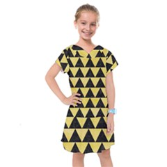 Triangle2 Black Marble & Yellow Watercolor Kids  Drop Waist Dress