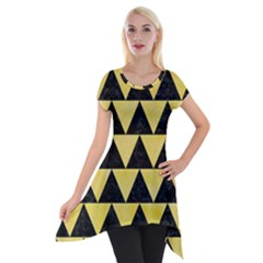 Triangle2 Black Marble & Yellow Watercolor Short Sleeve Side Drop Tunic