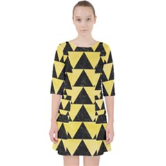 Triangle2 Black Marble & Yellow Watercolor Pocket Dress