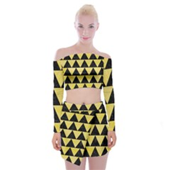 Triangle2 Black Marble & Yellow Watercolor Off Shoulder Top With Mini Skirt Set