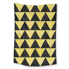 Triangle2 Black Marble & Yellow Watercolor Large Tapestry