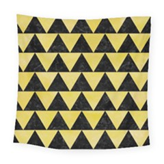 Triangle2 Black Marble & Yellow Watercolor Square Tapestry (large)