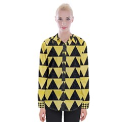 Triangle2 Black Marble & Yellow Watercolor Womens Long Sleeve Shirt