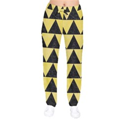 Triangle2 Black Marble & Yellow Watercolor Drawstring Pants