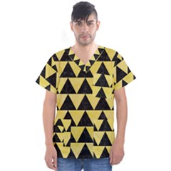 Triangle2 Black Marble & Yellow Watercolor Men s V Neck Scrub Top