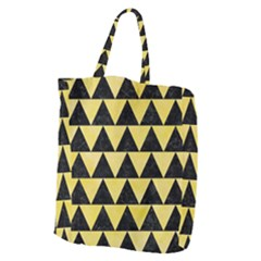 Triangle2 Black Marble & Yellow Watercolor Giant Grocery Zipper Tote