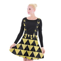 Triangle2 Black Marble & Yellow Watercolor Suspender Skater Skirt