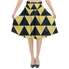 Triangle2 Black Marble & Yellow Watercolor Flared Midi Skirt
