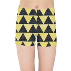 Triangle2 Black Marble & Yellow Watercolor Kids Sports Shorts