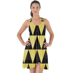 Triangle2 Black Marble & Yellow Watercolor Show Some Back Chiffon Dress