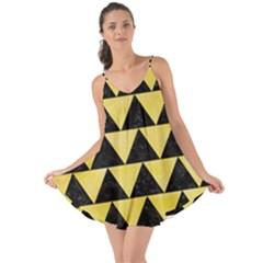 Triangle2 Black Marble & Yellow Watercolor Love The Sun Cover Up