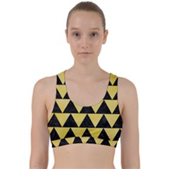 Triangle2 Black Marble & Yellow Watercolor Back Weave Sports Bra