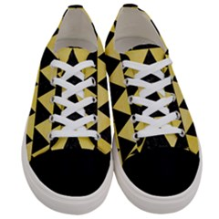 Triangle2 Black Marble & Yellow Watercolor Women s Low Top Canvas Sneakers