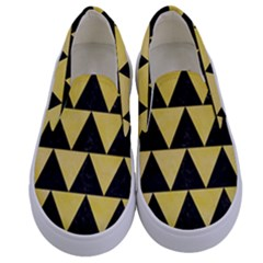 Triangle2 Black Marble & Yellow Watercolor Kids  Canvas Slip Ons