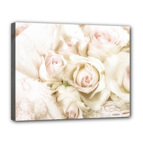 Pastel Roses Antique Vintage Canvas 14  X 11