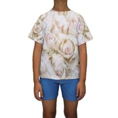 Pastel Roses Antique Vintage Kids  Short Sleeve Swimwear