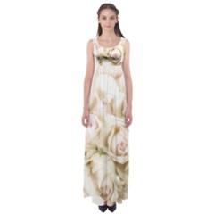 Pastel Roses Antique Vintage Empire Waist Maxi Dress