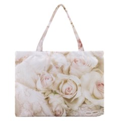 Pastel Roses Antique Vintage Zipper Medium Tote Bag
