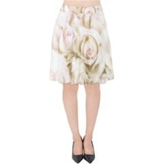 Pastel Roses Antique Vintage Velvet High Waist Skirt
