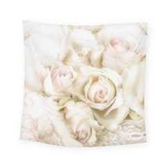 Pastel Roses Antique Vintage Square Tapestry (small)