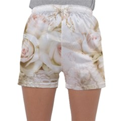 Pastel Roses Antique Vintage Sleepwear Shorts