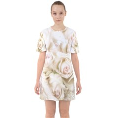 Pastel Roses Antique Vintage Sixties Short Sleeve Mini Dress