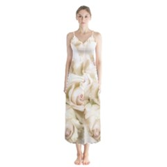 Pastel Roses Antique Vintage Button Up Chiffon Maxi Dress