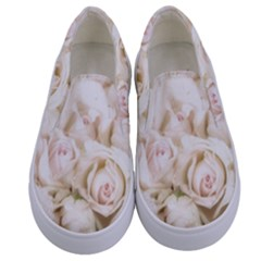Pastel Roses Antique Vintage Kids  Canvas Slip Ons