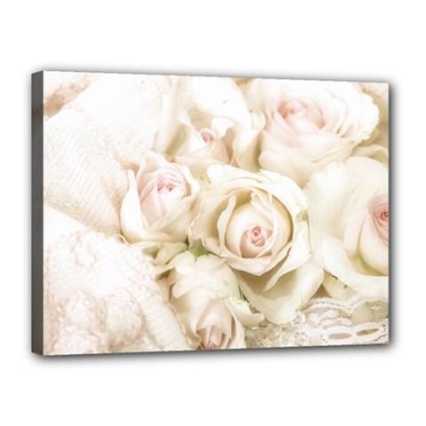 Pastel Roses Antique Vintage Canvas 16  X 12