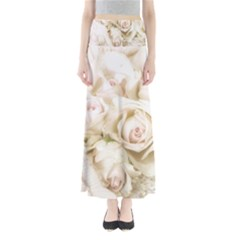 Pastel Roses Antique Vintage Full Length Maxi Skirt