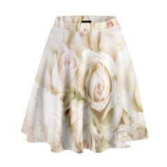 Pastel Roses Antique Vintage High Waist Skirt