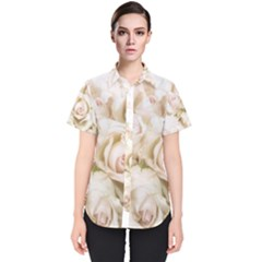 Pastel Roses Antique Vintage Women s Short Sleeve Shirt