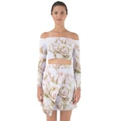 Pastel Roses Antique Vintage Off Shoulder Top With Skirt Set