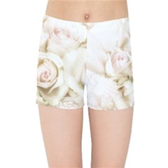 Pastel Roses Antique Vintage Kids Sports Shorts