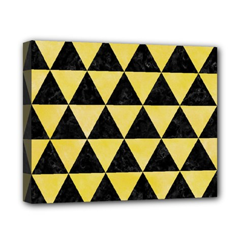 Triangle3 Black Marble & Yellow Watercolor Canvas 10  X 8