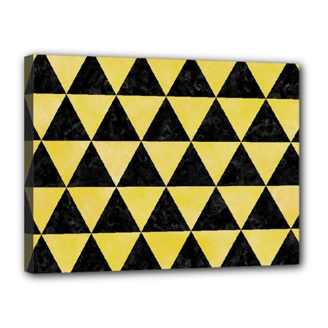 Triangle3 Black Marble & Yellow Watercolor Canvas 16  X 12
