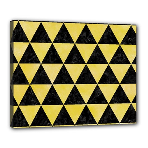 Triangle3 Black Marble & Yellow Watercolor Canvas 20  X 16
