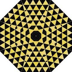 Triangle3 Black Marble & Yellow Watercolor Straight Umbrellas