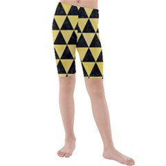 Triangle3 Black Marble & Yellow Watercolor Kids  Mid Length Swim Shorts