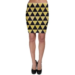 Triangle3 Black Marble & Yellow Watercolor Bodycon Skirt