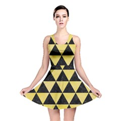 Triangle3 Black Marble & Yellow Watercolor Reversible Skater Dress