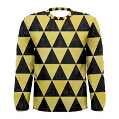 Triangle3 Black Marble & Yellow Watercolor Men s Long Sleeve Tee