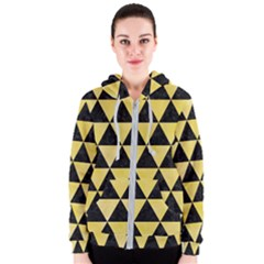 Triangle3 Black Marble & Yellow Watercolor Women s Zipper Hoodie