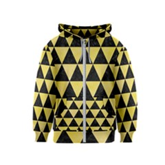 Triangle3 Black Marble & Yellow Watercolor Kids  Zipper Hoodie